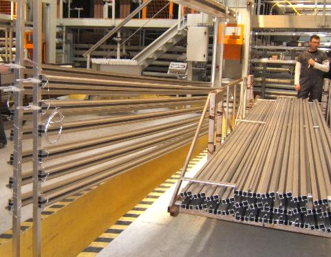 aluminium extrusions racked in preparation for anodisation